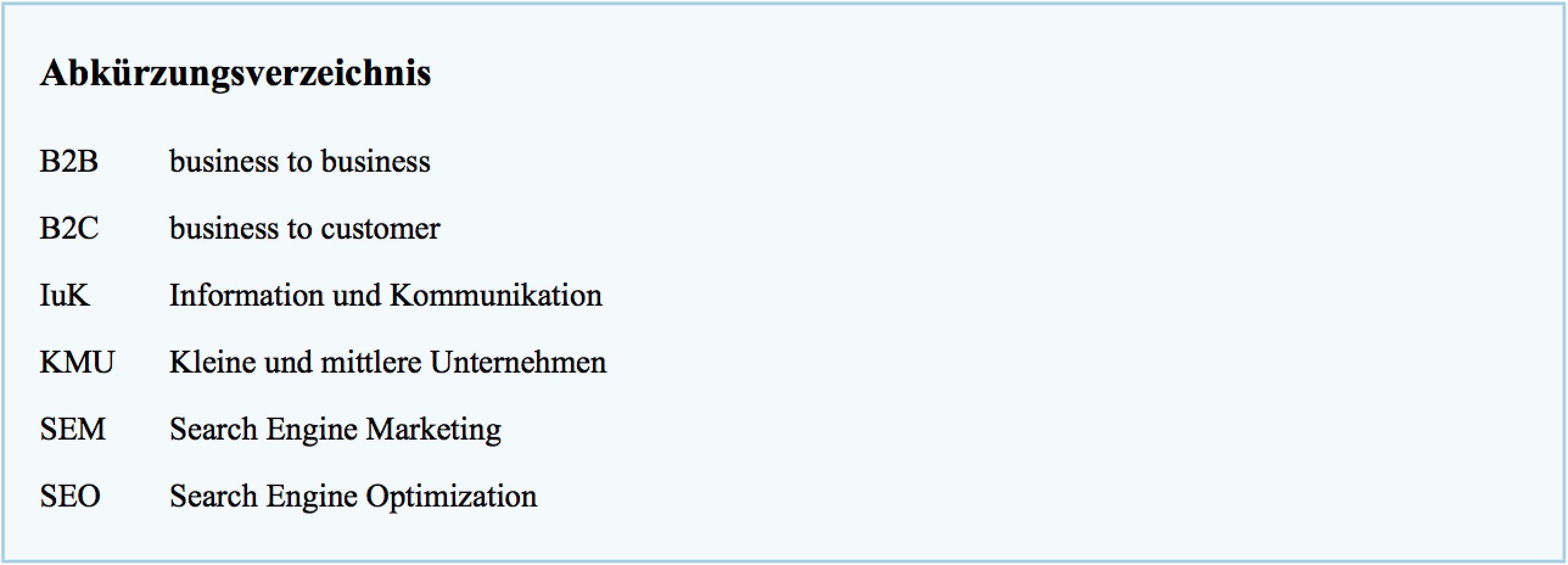Beispiel feur das Abkürzungsverzeichnis