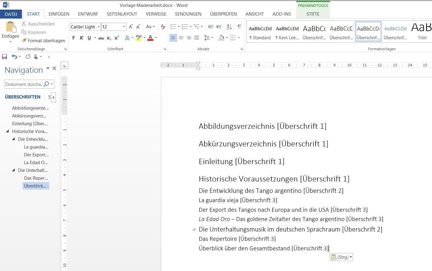 Formatierung des vorläufigen Inhaltsverzeichnisses für eine Bachelorarbeit