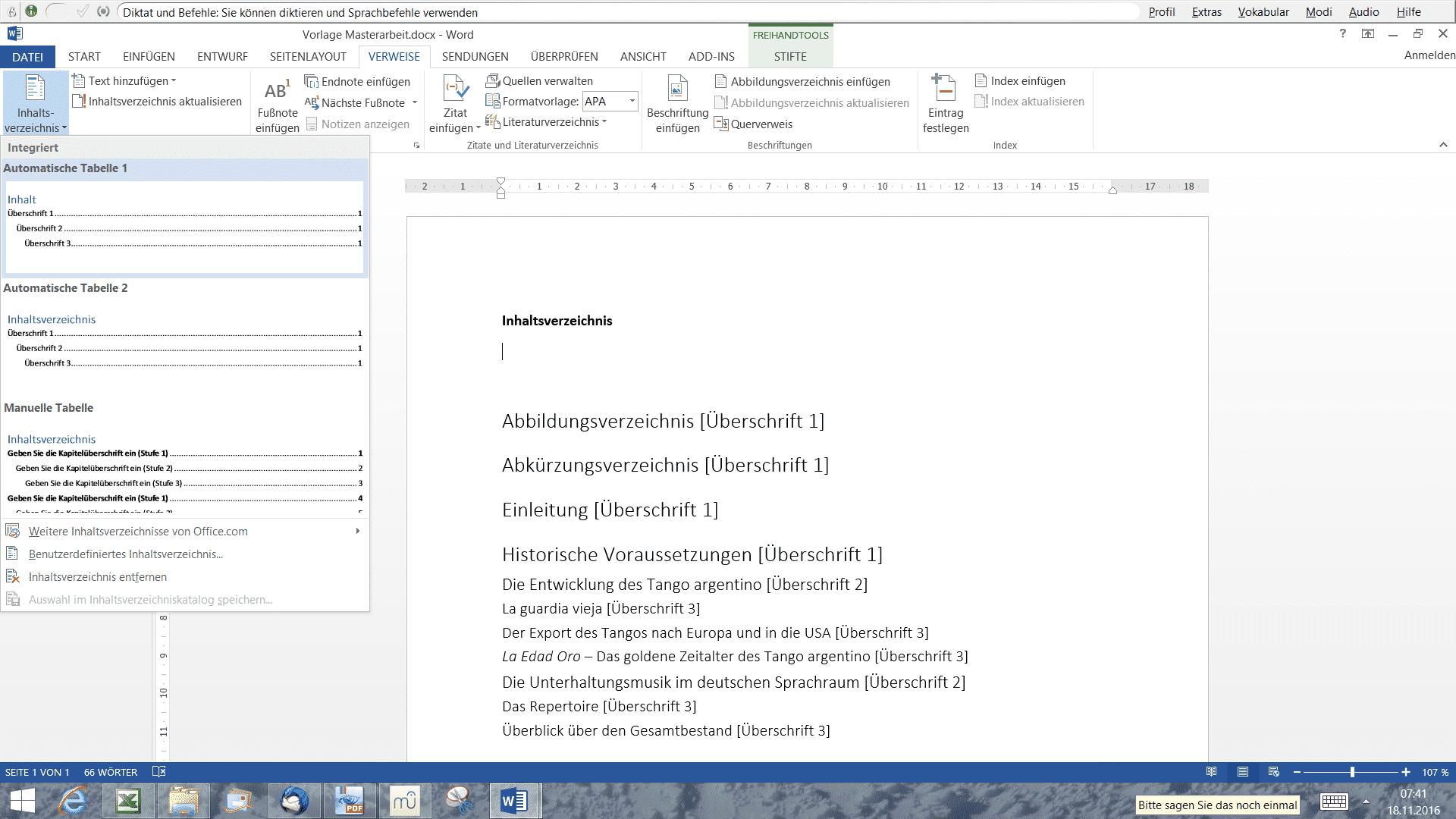 Formatvorlagen Inhaltsverzeichnis