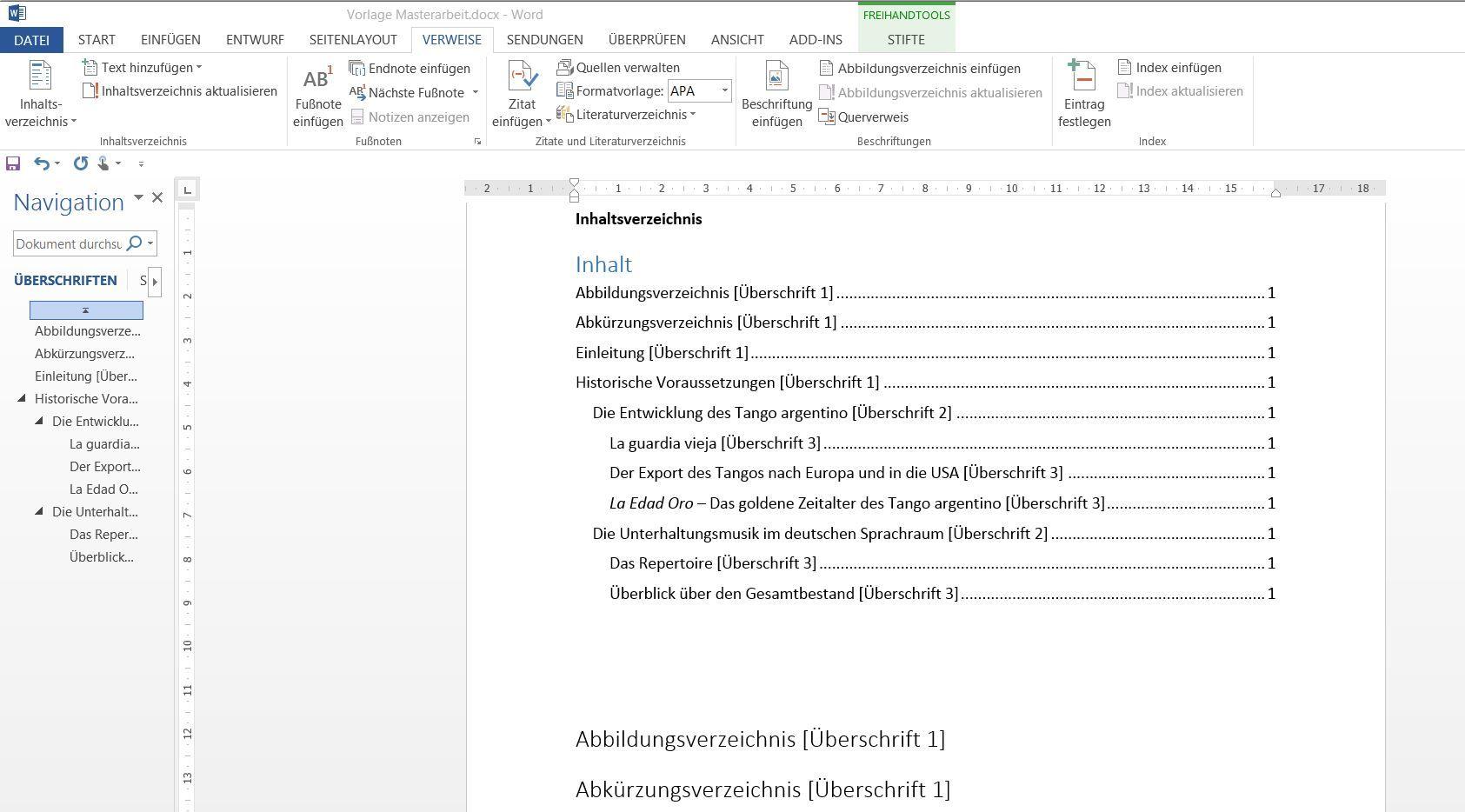 Generierung eines Inhaltsverzeichnisses in Word