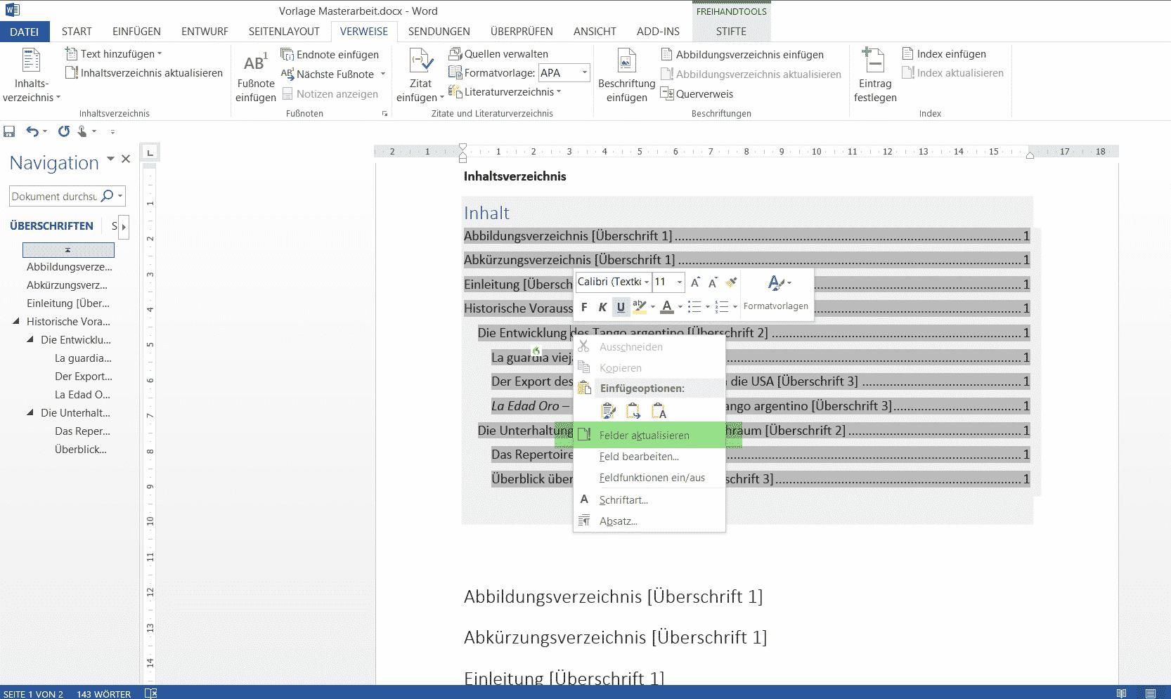 Automatisches aktualisieren eines Inhaltsverzeichnisses in Word