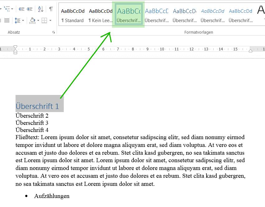 Zuordnung der Formatvorlagen