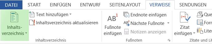 automatisch aktualisierbares Inhaltsverzeichnis