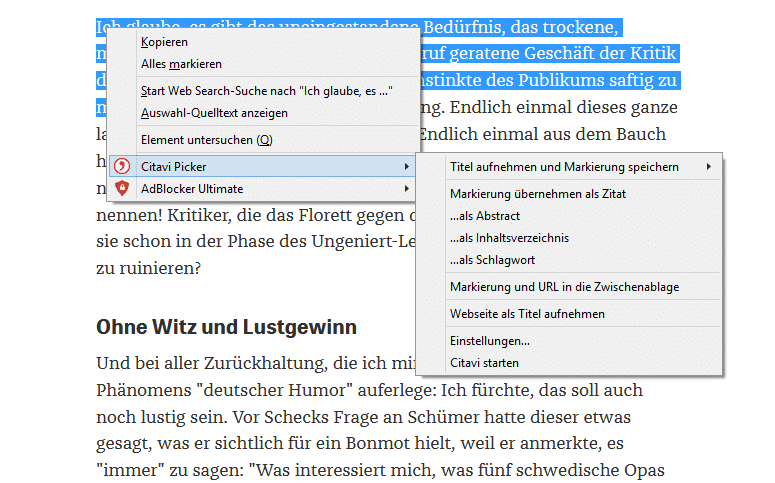 Funktion des Citavi Pickers in Firefox