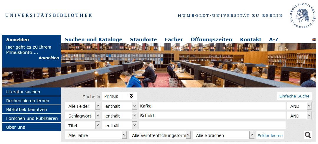 Erweiterte Suche im OPAC der Humboldt Universität zu Berlin