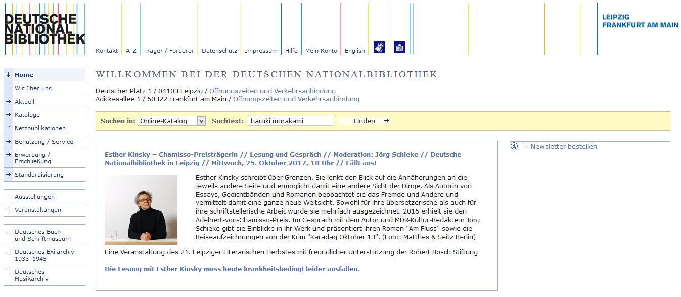 Suche im Online-Katalog der Deutschen Nationalbibliothek