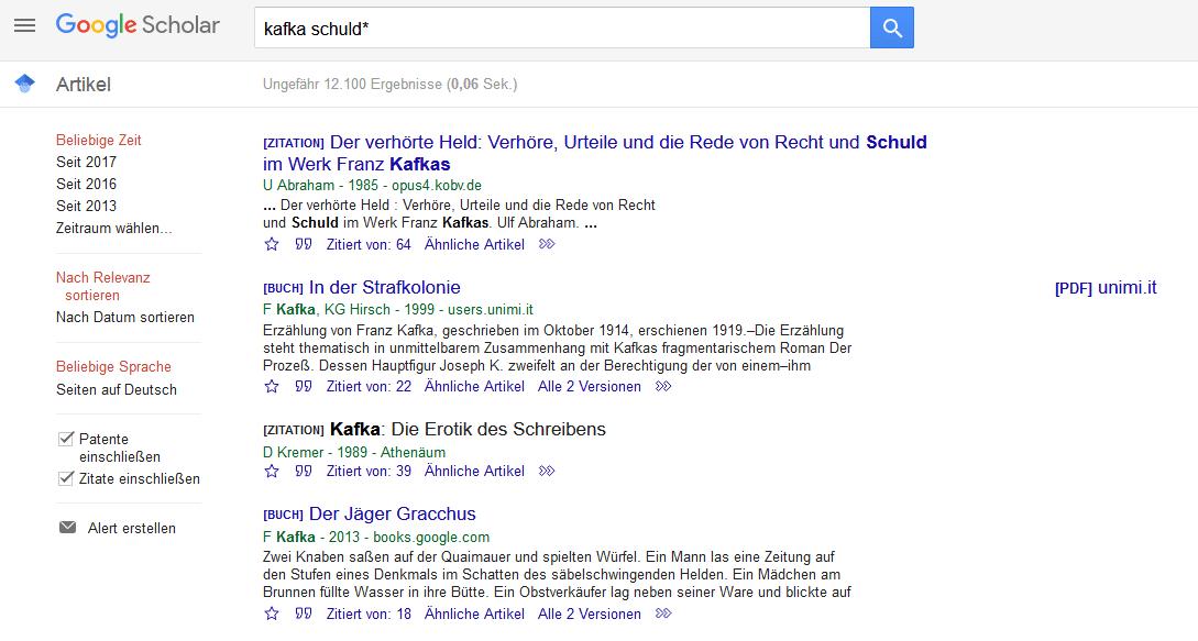 Suche über Google Scholar
