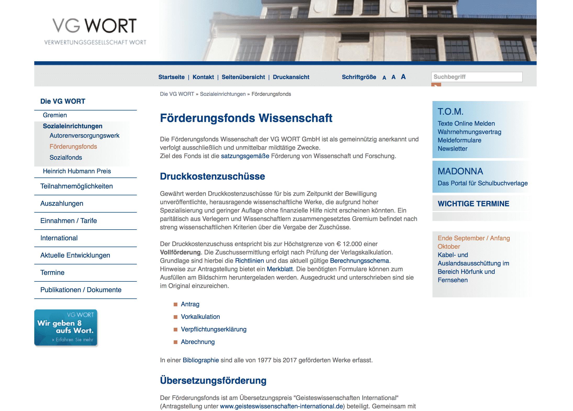 Website der VG Wort