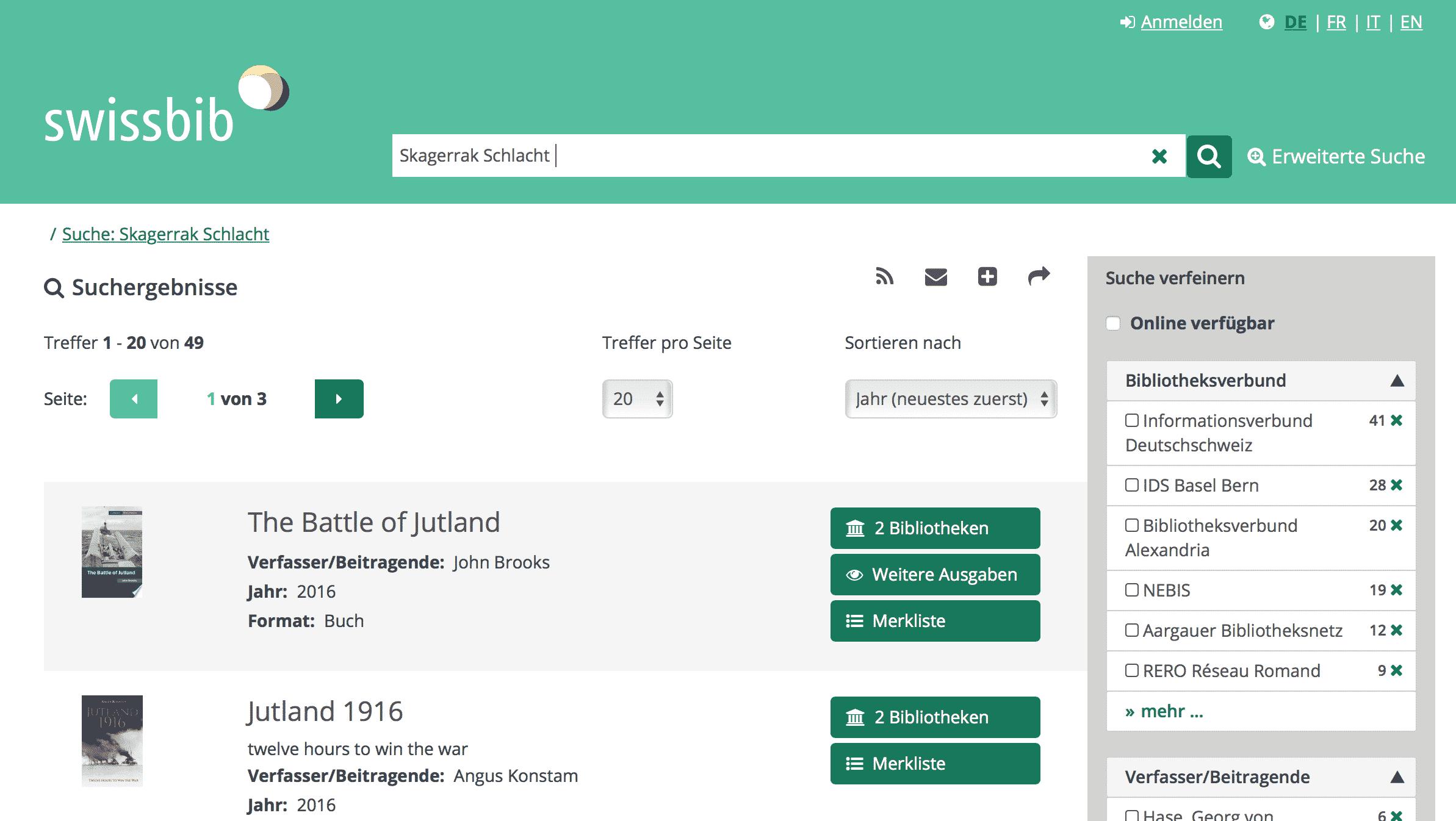 Swissbib-Katalog der wichtigsten Bibliotheken in der Schweiz