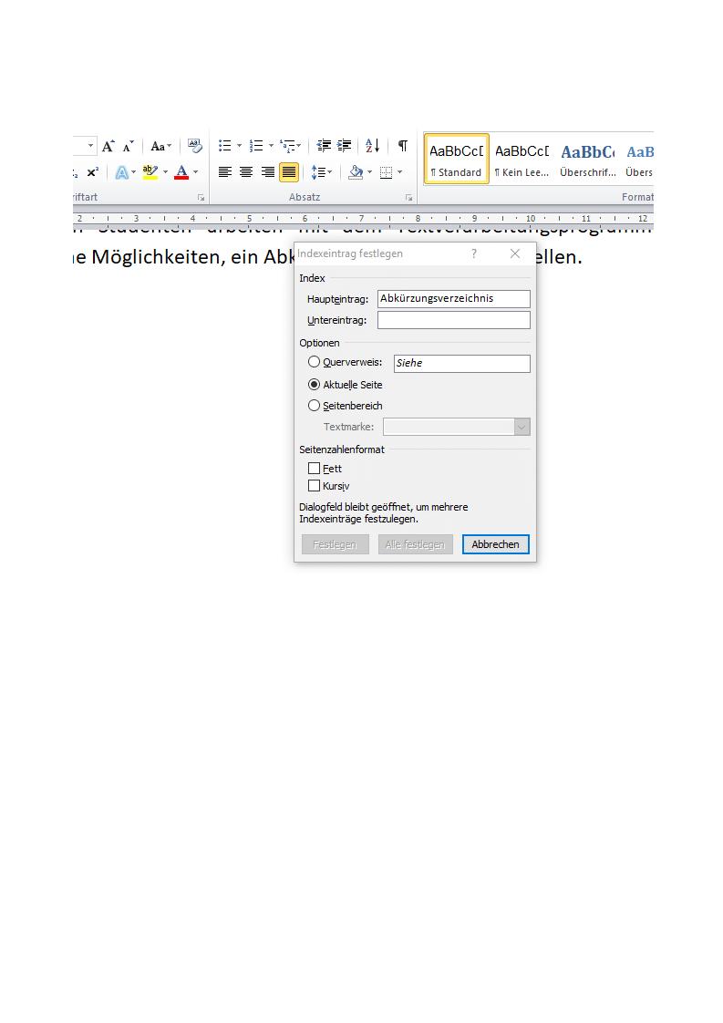 Indexeintrag festlegen