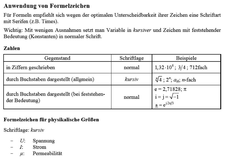 Anwendung von Formelzeichen