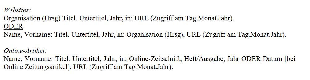 Aufbau des Literaturverzeichnisses für Internetmedien