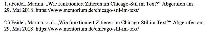 Beispiele-Einträge Internetquelle für Literaturverzeichnis im Chicago-Stil