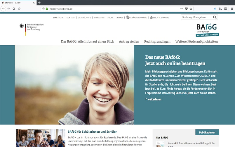 Ausführliche Informationen zum BAföG beim BMBF