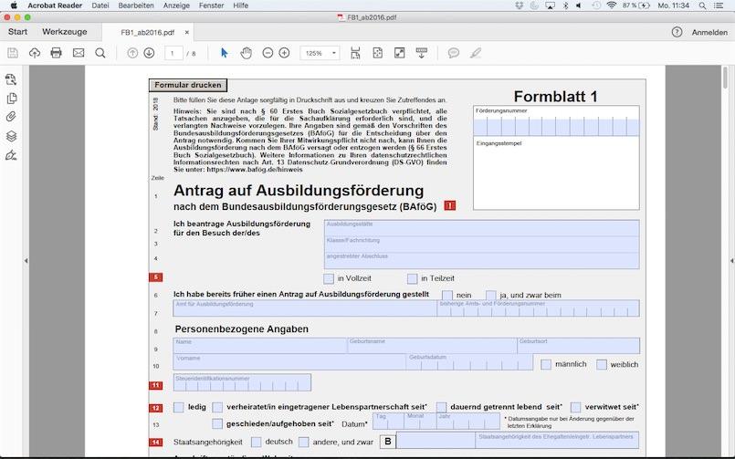 Die Formblätter können am PC oder online ausgefüllt werden