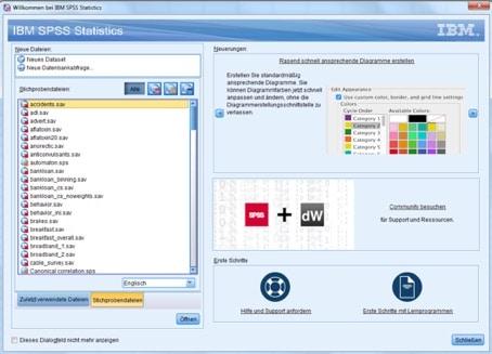 Statistik in SPSS: Begrüßungsbildschirm mit Beispielen