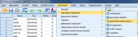 Boxplot über das Menü Explorative Datenanalyse erstellen