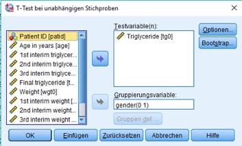 Dialogbox beim t-Test bei unabhängigen Stichproben