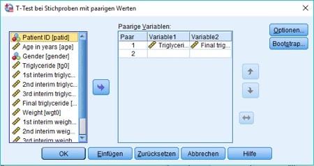 Dialogbox für den t-Test bei verbundenen Stichproben