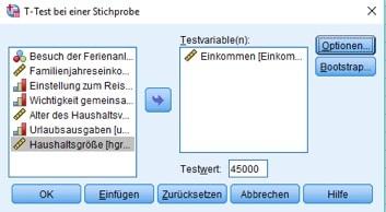 Dialogbox für den Hypothesentest