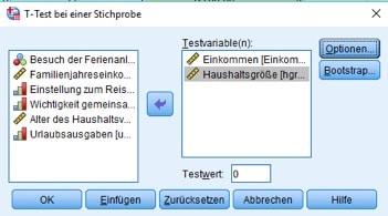 Dialogbox zur Auswahl der Variablen