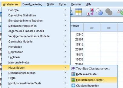 Menüfolge für die hierarchische Clusteranalyse