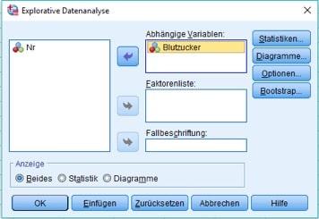 Normalverteilung in SPSS: Dialogbox Explorative Datenanalyse