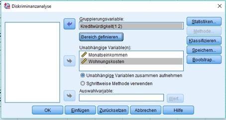 Diskriminanzanalyse in SPSS: Dialogbox für die Zuordnung der Variablen