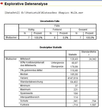 Normalverteilung in SPSS: Oberer Teil Deines SPSS-Outputs