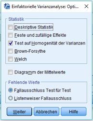 Test auf Homogenität der Varianzen auswählen.