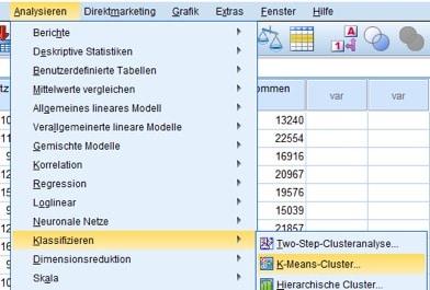 Menüfolge für die K-Means-Clusteranalyse