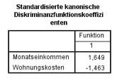 Standardisierte Diskriminanzkoeffizienten im SPSS-Output
