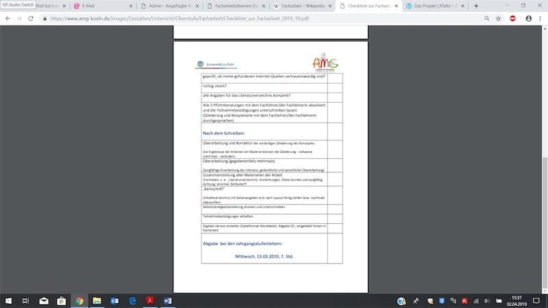 Checkliste der Arbeitsschritte