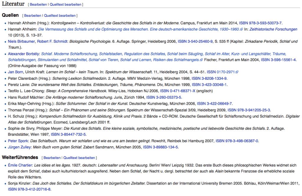 Literaturliste zum Wikipediaeintrag Schlaf