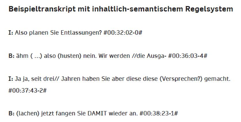 Beispiel nach inhaltlich-semantischen Regeln mit Hilfe eines Transkriptionsprogramms