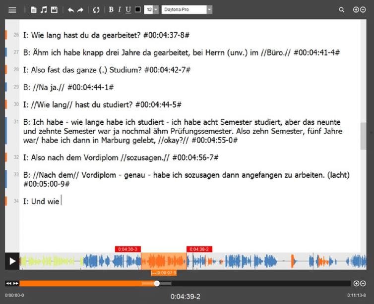 Beispiel für die Transkriptionssoftware f4 nach Dresing und Pehl
