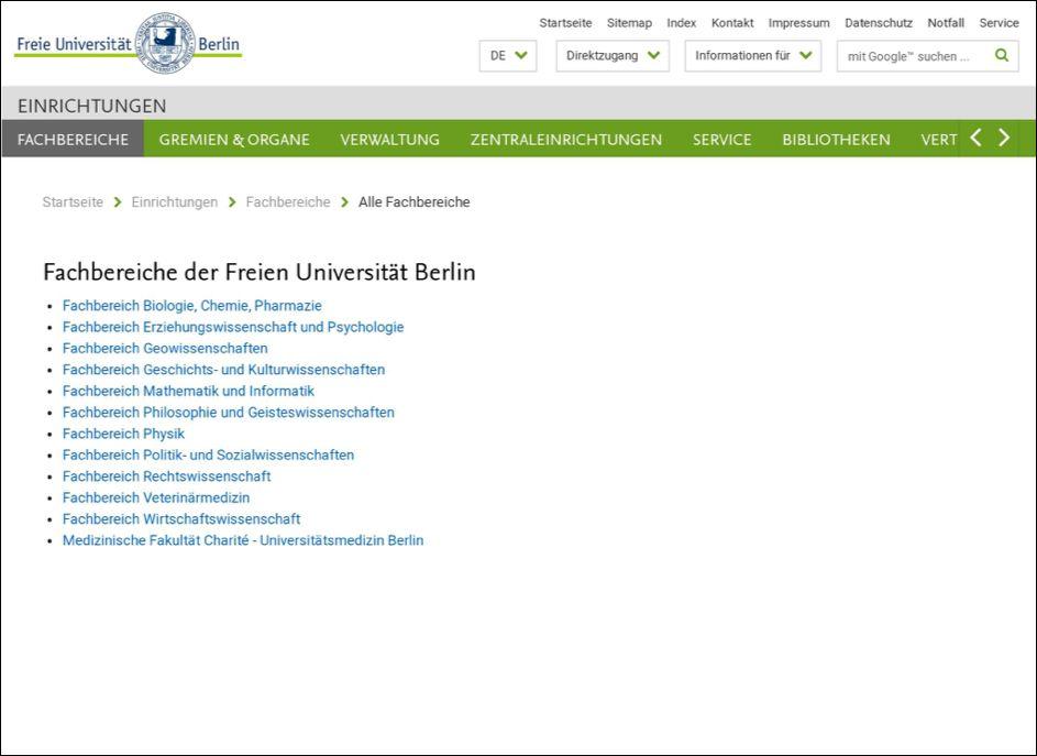 Auflistung der Fachbereiche am Beispiel der FU Berlin