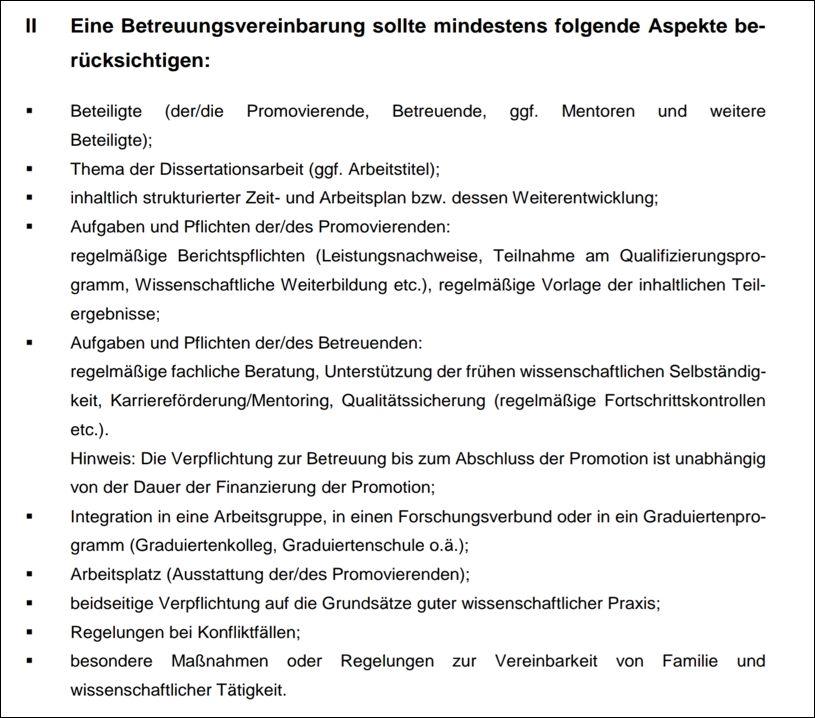 Anregungen für eine Betreuungsvereinbarung der Deutschen Forschungsgemeinschaft