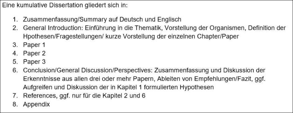 Informationen zur Erstellung und Gliederung einer Dissertationsschrift