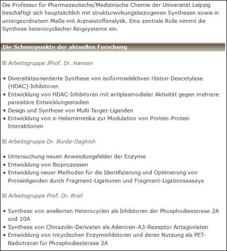 Übersicht über die Arbeitsgruppen der Pharmazeutischen/Medizinischen Chemie an der Universität Leipzig