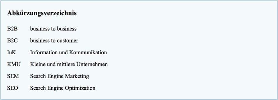 Beispiel für das Abkürzungsverzeichnis