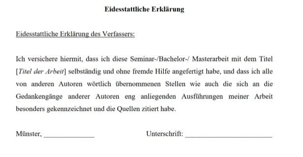 Beispiel für die eidesstattliche Erklärung (Quelle:Universität Münster)