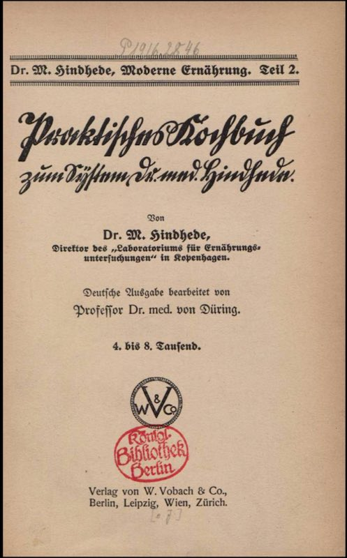 Sachbuch über moderne Ernährung aus dem Jahr 1915