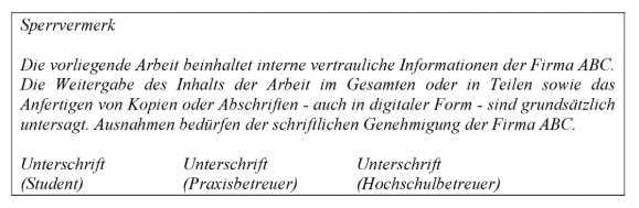 Vorlage für den Sperrvermerk der Masterarbeit nach Hagenloch
