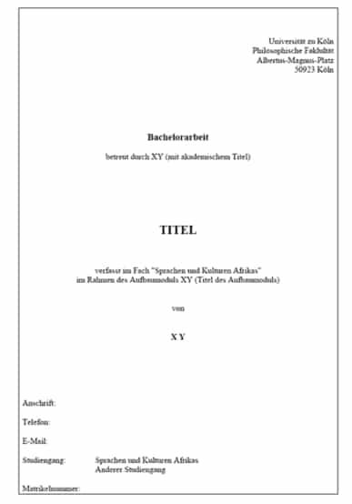 Deckblatt Masterarbeit Anleitung Vorlage Muster
