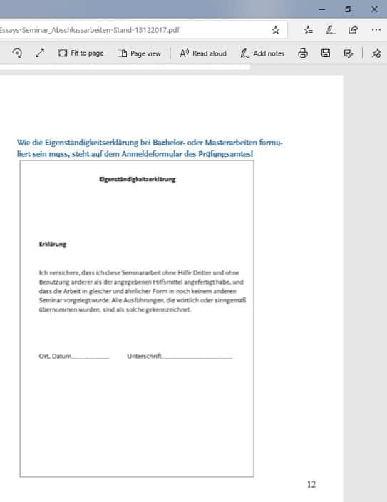Seminararbeit Beispiel Eigenstaendigkeitserklaerung