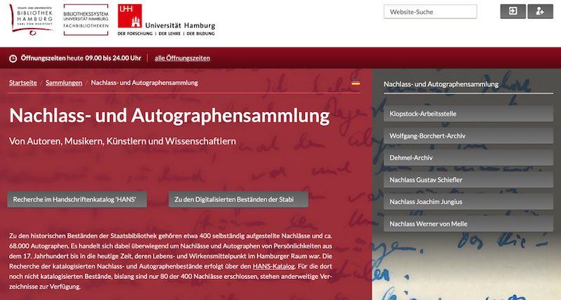 Recherche zum Biografie schreiben, z.B. in der Nachlass- und Autographensammlung der Hamburger Staatsbibliothek