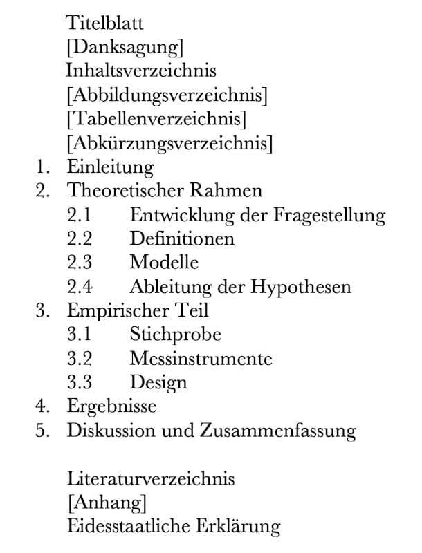 1. Beispiel für das Inhaltsverzeichnis einer Bachelorarbeit