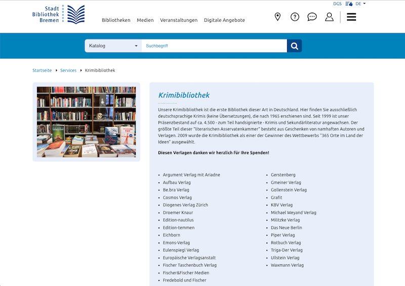 Goldgrube für Ideen zum Krimi schreiben: die Bremer Krimibibliothek