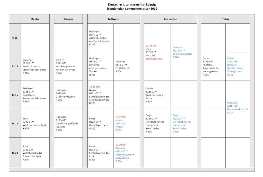 Beispiel-Stundenplan zum Autor werden am Literatur-Institut Leipzig